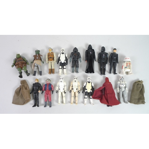 145 - A group of sixteen original Star Wars toy action figures, comprising a 1977 Darth Vader with vinyl c...