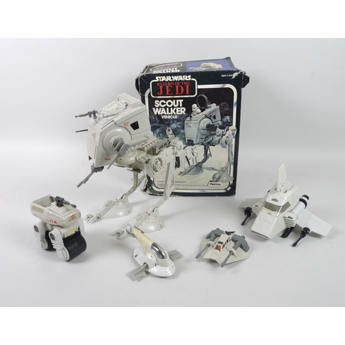 144 - A 1982 Return of the Jedi toy Scout Walker model, with original box, together with toy other Star Wa...