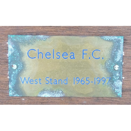 272 - A 1960s Chelsea Football Club, cast iron frame with wooden swing seat, bearing plaque 'Chelsea F.C. ...