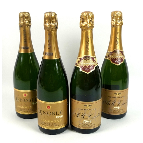 215 - Vintage Champagne: a mixed parcel of champagne, comprising two bottles of A R Lenoble 1995 Grand Cru...