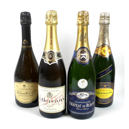 216 - Vintage Champagne: a mixed parcel of champagne, comprising a bottle of Vilmart & Cie Crand Cellier, ...