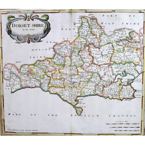 228 - After Robert Morden (British, 1650-1703): two hand coloured maps, Dorsetshire, 37 by 42.5cm, framed ...