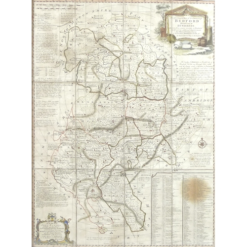229 - After Emmanuel Bowen, an 18th century map, 'Bedford Divided into its Hundreds', engraving, hand colo...