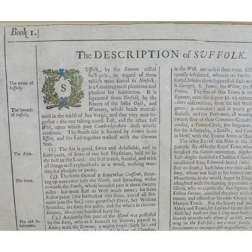 226 - After John Speed (British, 1552-1629): a 17th century map of Suffolk 'divided into Hundreds', 1676 i...