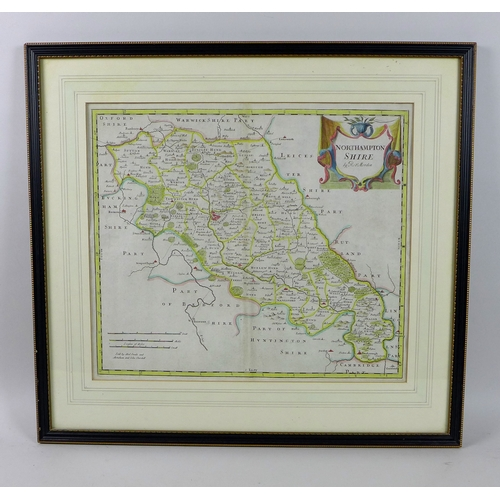 225 - After Robert Morden (1650-1703): a 17th century map of Northamptonshire, sold by Swale, Awnsham and ...