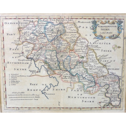 233 - Three 18th century maps after Robert Morden (1650-1703), comprising one of Wiltshire, 36 by 42cm, fr...