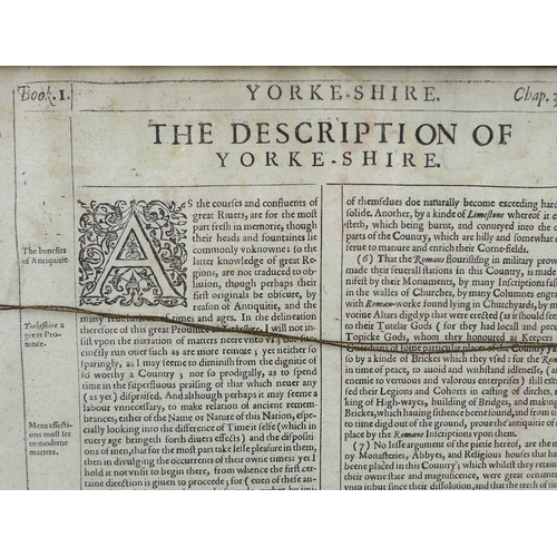 230 - After John Speed (1552-1629), an early 17th century map of Yorkshire, Sudbury & Humble dated 1610, l...
