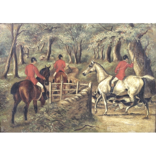 252 - British School (late 19th / early 20th century): a hunting scene, depicting three red jacketed hunts...