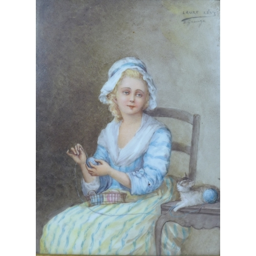 249 - Laure Lévy (French, 1866-1954) after D. Greuze, a late 19th century French porcelain plaque, painted...