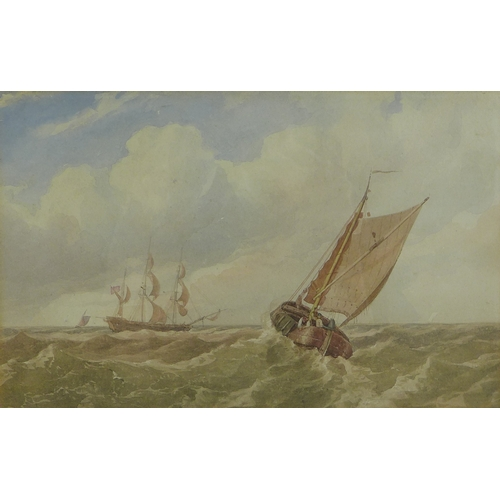 242 - Miles Edmund Cotman (British, 1810-1858): 'Boats in a swell', unsigned, titled and attributed to mou...