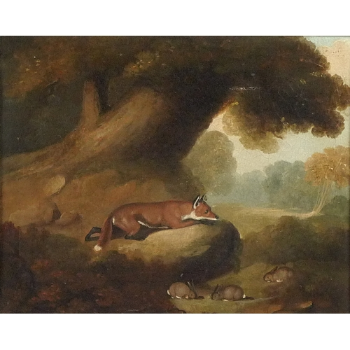 258 - English School (19th century): a fox stalking rabbits, unsigned but bearing 'Ward B A' verso, oil on...