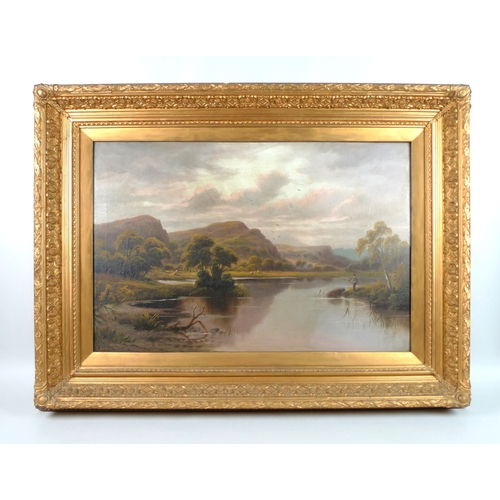 254 - Edward Heaton (British, 20th century): a river landscape, with man fishing on the bank, hills and a ...