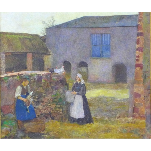 239 - Attributed to John William North (British 1842-1924) 'In the Farmyard at Halsway Manor, Somerset',  ...