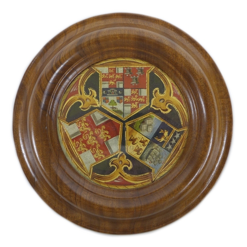 250 - A 19th century hand painted trio of armorial crests, featuring the Yorkshire and Leeds crests mounte...