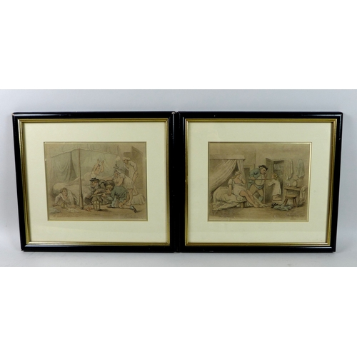 251 - In the Manner of Thomas Rowlandson (1756–1827): two humorous pen and ink pictures, 'The Discovery' a...