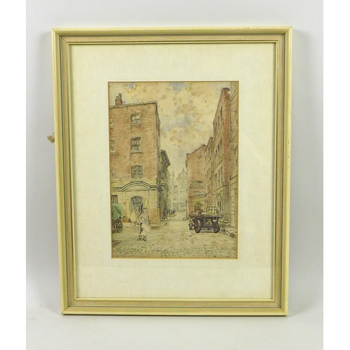 244 - Wilfrid Rene Wood (British, 1888-1976): 'New Cannon Street' watercolour, unsigned, with label verso,...