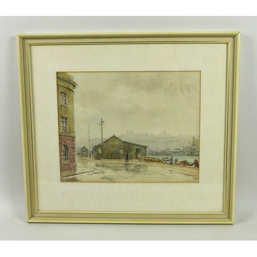 245 - Wilfrid Rene Wood (British, 1888-1976): 'Dover' watercolour, signed and dated 1931, with label verso...
