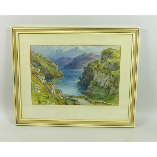 246 - Wilfrid Rene Wood (British, 1888-1976): 'Mountain Landscape & Lake' watercolour, unsigned but with e...
