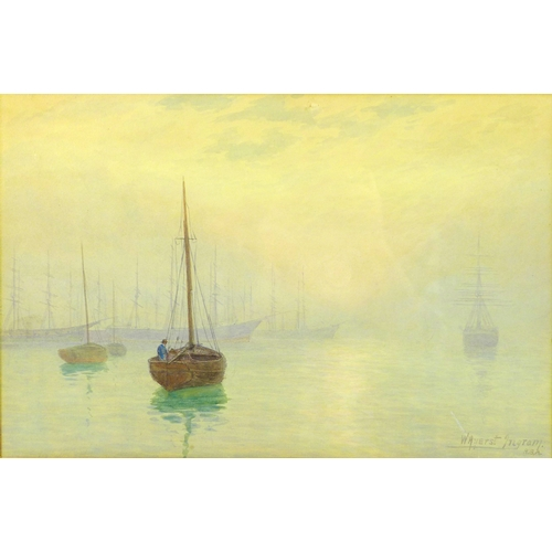 240 - William Ayerst Ingram RBA (1855-1913): a watercolour depicting sailboats at moorings in the evening ...