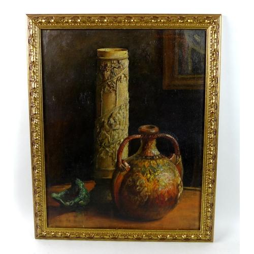 257 - Frank Lewis Emanuel (British, 1866-1948): still life of oriental items, depicting a moon flask, jade...
