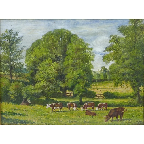 261 - Rowland Hill (British, 1915-1979): landscape with cattle, oil on canvas stretched over board, signed...