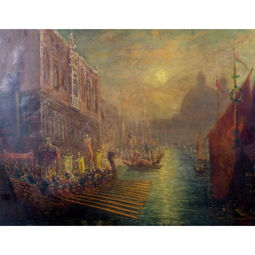 267 - Venetian School (18th/19th century): a view of The Doge's Bucentaur returning to the Molo, Venice, f...