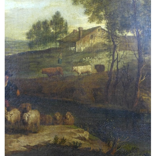 266 - Italian School (18th century): a rural scene with figures in a landscape, in portrait format, with a...