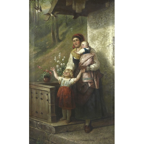 263 - A. Minter (19th century): a Continental woman standing with her two children, in front of a stone co...