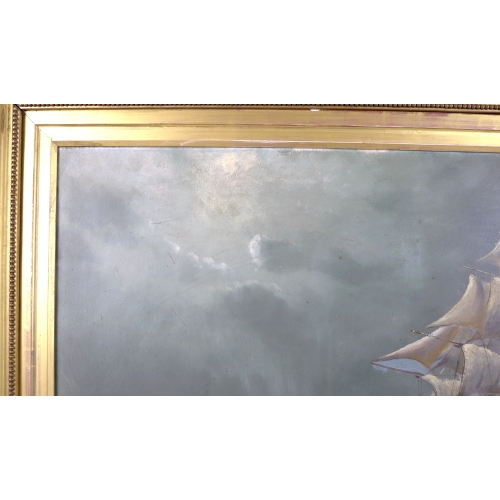 253 - J. McCormack (20th century): 'The Flying Cloud', depicting a ship in full sail on the open sea, titl...