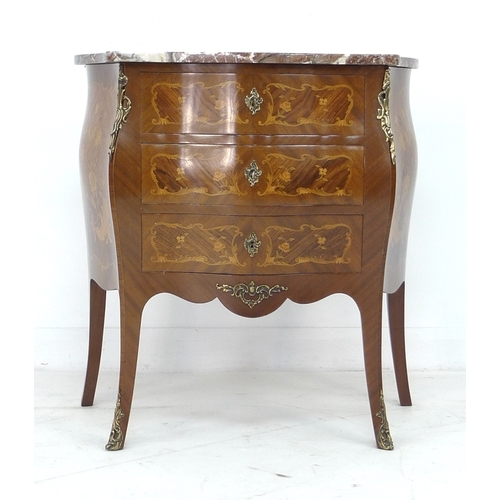 287 - A reproduction walnut Dutch style bombe chest of drawers, with red and white veined marble top, thre...
