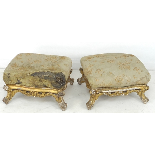 333 - A pair of French Second Republic giltwood framed stools, with upholstered seats in need of restorati...