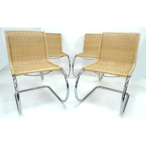 288 - A set of four Thonet tubular steel and cane modern designer chairs, late 20th century, after a desig...