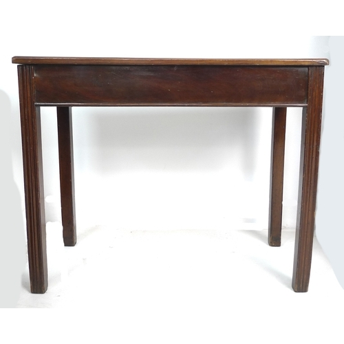 299 - A 19th century mahogany side table, rectangular surface, channelled legs, 87 by 43 by 71.5cm high....