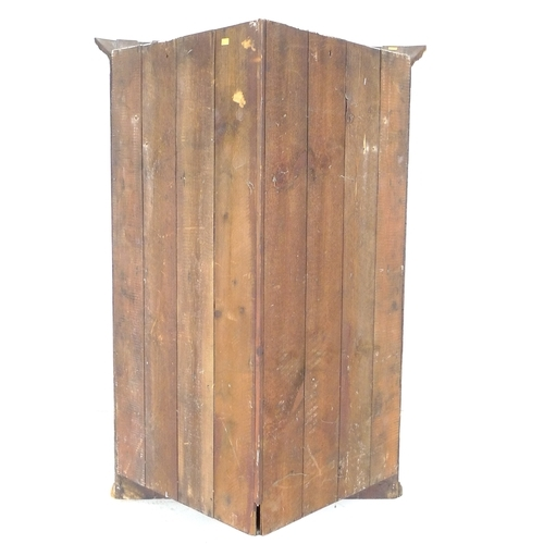 308 - A George III mahogany corner cupboard, flat front single paneled door with brass H hinges, four fixe...