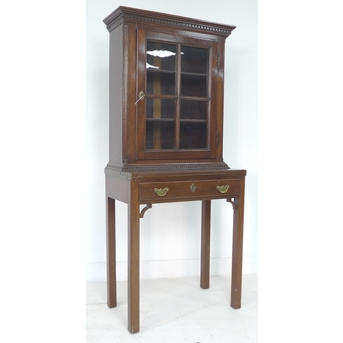 329 - An Edwardian mahogany lady's bureau bookcase, of small proportions, dentil moulded cornice over a si...