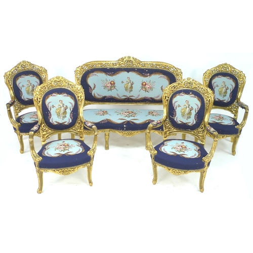 279 - A modern French 19th century style salon suite, with carved and gilded wood frames, tapestry upholst...
