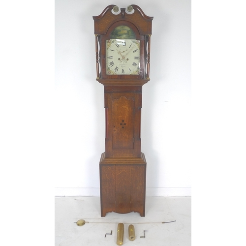 320 - A 19th century long case clock, Robert Pattison, Thirsk, with handpainted arched dial with Roman num...