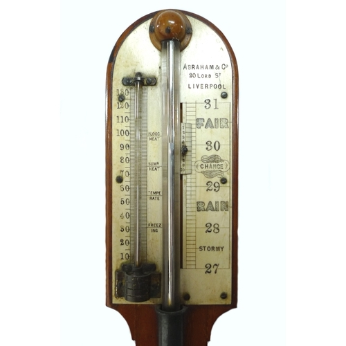 309 - A Victorian mahogany stick barometer, Abraham & Co, 20 Lord Street, Liverpool, with engraved ivory g...