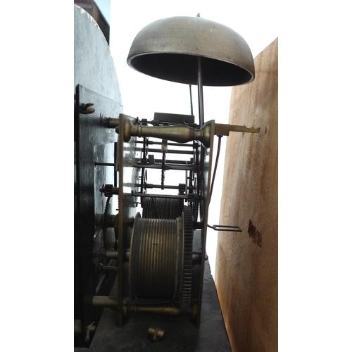 321 - An early 19th century mahogany and oak long case clock, circular white enamel dial signed Deacon Lei...
