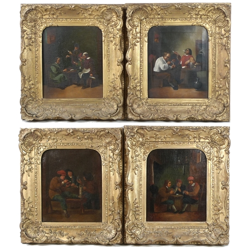 264 - A set of four Dutch 18th or 19th century cartoons, each depicting various figures in room settings, ...