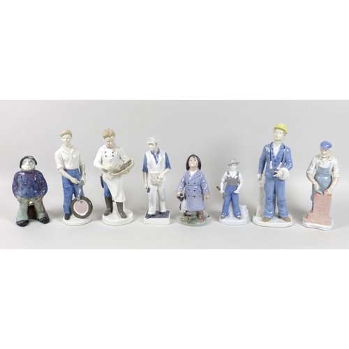 34 - A group of eight porcelain figurines, comprising two Royal Copenhagen figurines, modelled as a littl...