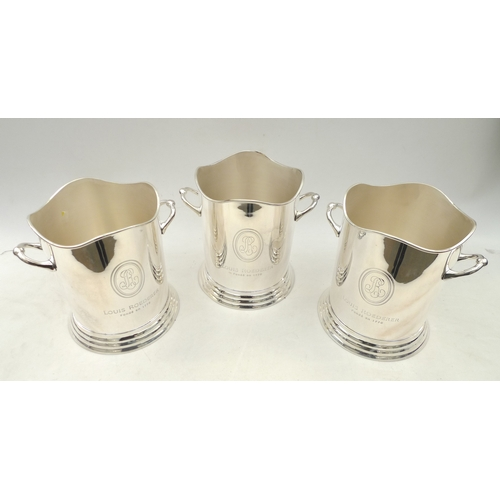 5 - Three nickel plated Louis Roederer style champagne buckets, made in India, with cloth covers. (3)...