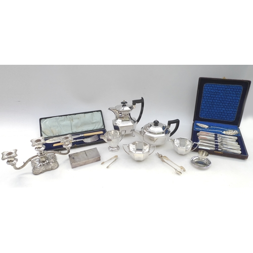 12 - A group of silver plated wares, including an Art Deco style tea set, by Frank Cobb and Co, a set of ...