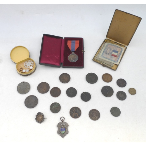 15 - A group of collectables, including a cased George V faithful service medal, bearing name George Henr...