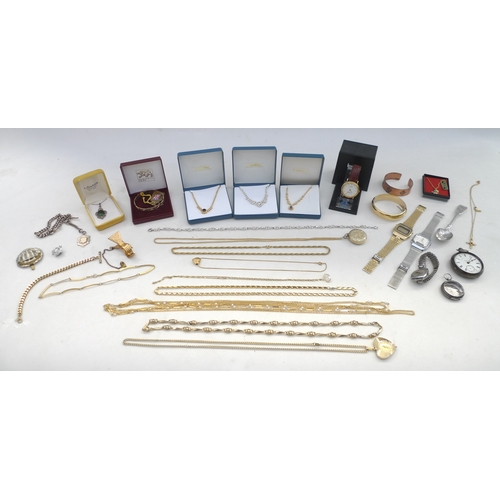 19 - A group of costume jewellery and wristwatches, and a silver teaspoon, a silver cased pocket watch, a...