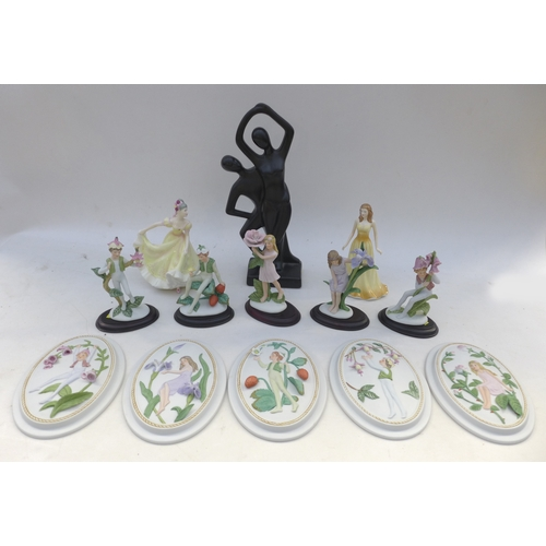 22 - A group of figurines, including two Royal Doulton and ten Alexander figurines and plaques. (13)...