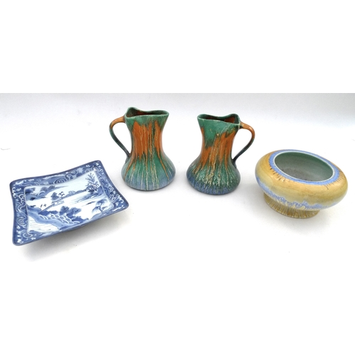 30 - A Shelley drip glaze squat vase 17 by 9cm , two Wade Orcadia drip glaze jug form vases, and a Chines...