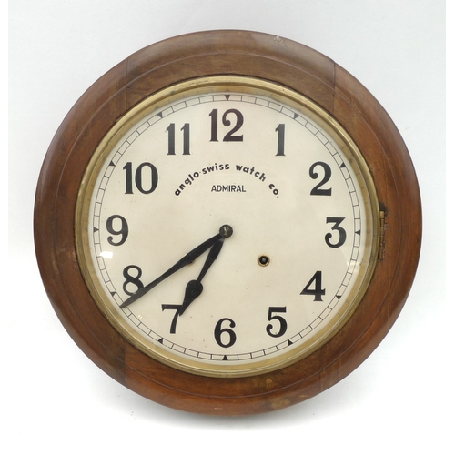 37 - An Anglo Swiss Watch Company Admiral wall clock, with circular mahogany case, 41.5 by 10.5cm....