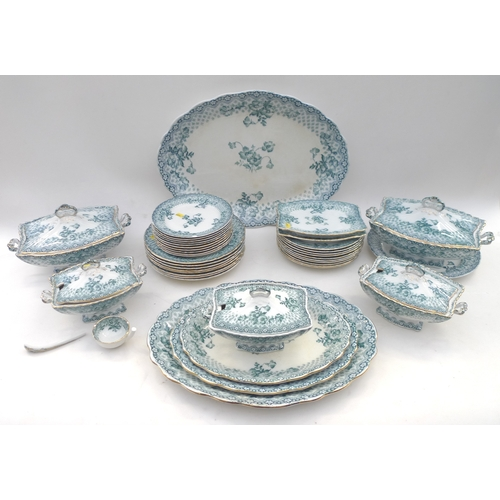 40 - A late Victorian F & Sons, Chatswell, Burslem part dinner service, decorated in transfer printed gre...