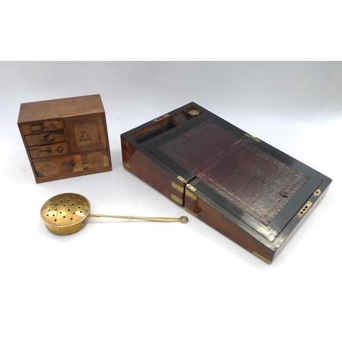 43 - A 19th century writing slope, with secret drawer, brass fittings a/f, together with a jewellery puzz...